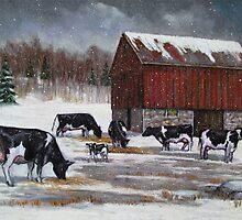 Cows in Snowy Barnyard No. 2, Oil Pastel Painting by Joyce Geleynse