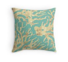 Golden coral in a turquoise sea Throw Pillow