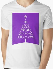 Christmas Tree Made Of Snowflakes On Violet Background T-Shirt
