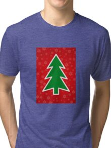 Christmas Tree on Red Background With Snowflakes Tri-blend T-Shirt