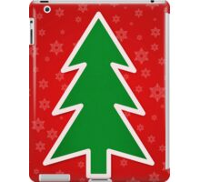 Christmas Tree on Red Background With Snowflakes iPad Case/Skin