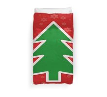 Christmas Tree on Red Background With Snowflakes Duvet Cover