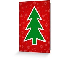 Christmas Tree on Red Background With Snowflakes Greeting Card