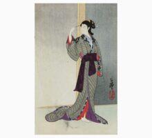 Courtesan Watching The Rain - Toshihide Migita - 1890 - woodcut Kids Clothes