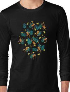 Tropical Monkey Banana Bonanza on Black Long Sleeve T-Shirt