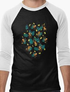 Tropical Monkey Banana Bonanza on Black Men's Baseball ¾ T-Shirt