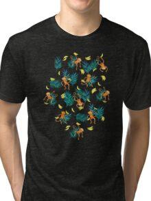 Tropical Monkey Banana Bonanza on Black Tri-blend T-Shirt