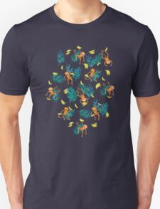Tropical Monkey Banana Bonanza on Black Unisex T-Shirt