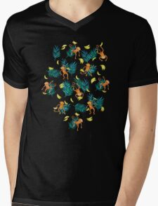 Tropical Monkey Banana Bonanza on Black Mens V-Neck T-Shirt