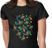 Tropical Monkey Banana Bonanza on Black Womens Fitted T-Shirt