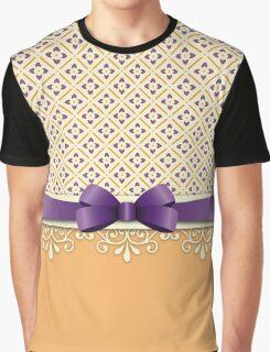 Purple Bow Orange Lotus Yellow Flourish Diamond Pattern Graphic T-Shirt