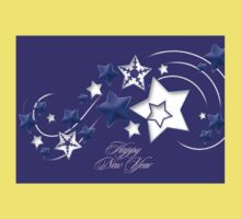 Blue and Purple Happy New Year Shooting Stars  Baby Tee