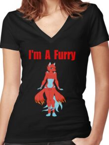 I'm A Furry (Designs4You) Women's Fitted V-Neck T-Shirt