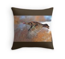 Turkey Flying - Wild Turkey, Ottawa, Canada Throw Pillow