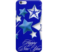 Teal and Blue Happy New Year Shooting Stars iPhone Case/Skin