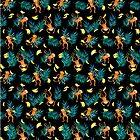 « Tropical Monkey Banana Bonanza on Black » par micklyn