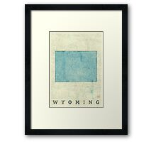 Wyoming State Map Blue Vintage Framed Print