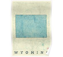 Wyoming State Map Blue Vintage Poster