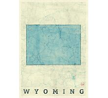 Wyoming State Map Blue Vintage Photographic Print