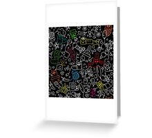 Pattern with funny doodle cats Greeting Card