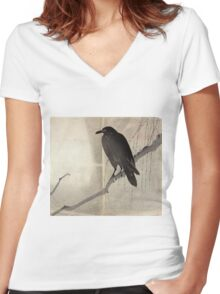 Crow On A Willow Branch - anon - c1880 Women's Fitted V-Neck T-Shirt
