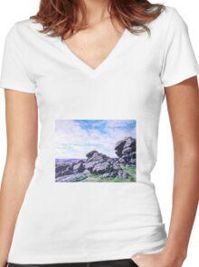 Hound Tor, Dartmoor Women's Fitted V-Neck T-Shirt