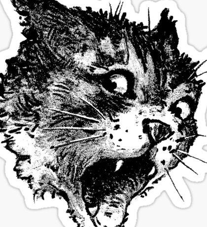 Freaky Cat B&W Sticker