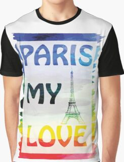 Vector- Paris my love.  watercolor background with Eiffel tower. Graphic T-Shirt