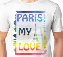 Vector- Paris my love.  watercolor background with Eiffel tower. Unisex T-Shirt