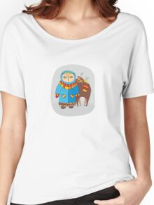 Man in winter clothes near a reindeer Women's Relaxed Fit T-Shirt
