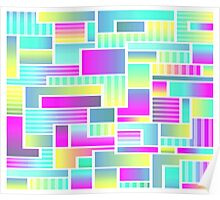 Abstract Neon Color Blocks Poster