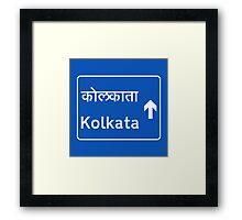 Calcutta (Kolkata), Road Sign, India Framed Print