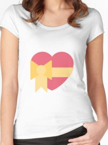 Pink heart with ribbon emoji Women's Fitted Scoop T-Shirt