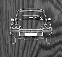 Citroen DS Outline Drawing on Black Oak by RJWautographics