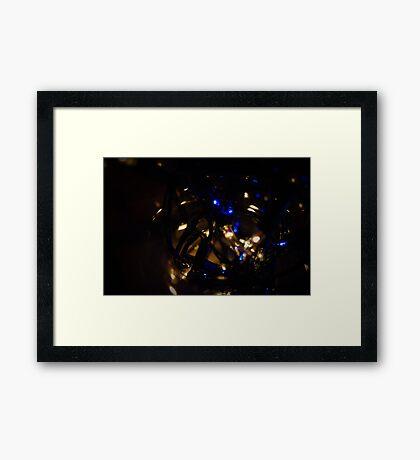 Blue And white Fairy Lights Framed Print