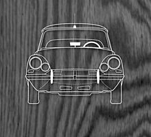 Citroen DS (1960's) Outline Drawing on Black Oak by RJWautographics