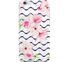 Cute spring flowers and navy ribbon waves seamless vector print. Speckled backdrop.  iPhone Case/Skin