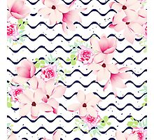 Cute spring flowers and navy ribbon waves seamless vector print. Speckled backdrop.  Photographic Print