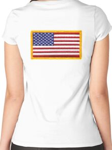 American, ARMY, Flag, Embroidered, Stars and Stripes, USA, United States, America, Military Badge Women's Fitted Scoop T-Shirt