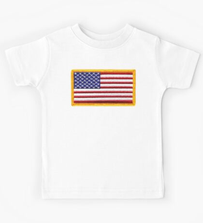 American, ARMY, Flag, Embroidered, Stars and Stripes, USA, United States, America, Military Badge Kids Tee