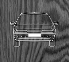 Citroen XM Outline Drawing on Black Oak by RJWautographics