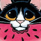 Tuxedo Cat, Juicy Watermelon by Lisa Marie Robinson