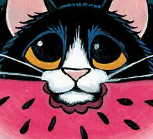 Tuxedo Cat, Juicy Watermelon by Lisa Marie Robinson