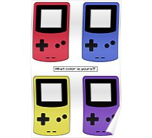 Gameboy Color - What Color is Yours?  (no background) Poster