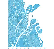 Copenhagen map blue Photographic Print