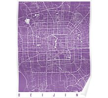 Beijing map lilac Poster