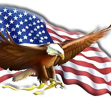 American Eagle, Patriot,  War, Flag, America, Bald Eagle, USA, Bird of Prey by TOM HILL - Designer