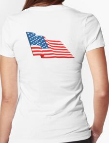 American Flag, FLUTTER, Stars & Stripes, Fly the flag, America, USA Womens Fitted T-Shirt