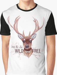 Deer and bare branches vector design object. Graphic T-Shirt
