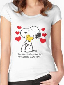 snoopy love Women's Fitted Scoop T-Shirt
